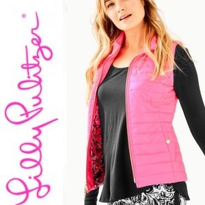 NWT Lilly Pulitzer Elyn Puffer Vest-Hibiscus Pink